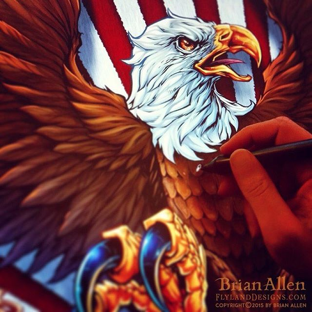 Coloring an eagle I illustrated recently for a patriotic wrestling singlet in Clip Studio Paint. #patriotic #eagle #clipstudiopaint #mangastudio #wrestling