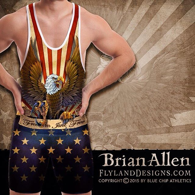 If this is too much America for you, then you can GIIIIIITTT OOOOUTT!!All-over-print dye-sublimated wrestling singlet design I created for BlueChip wrestling. This design was for their patriotic catalog, featuring a big angry eagle clutching a banner in front of a textured American Flag. I tried to give it a lot of depth, and fit a lot of different singlet sizes. #wrestling #patriotic #eagle #dyesub