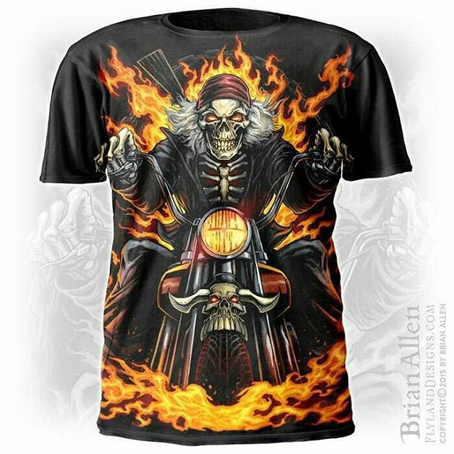 This is a personal piece I did for myself recently of a biker skeleton riding through flames on a motorcycle. Pretty cutting edge stuff, I know! I experimented with some new techniques here that I'm happy with - combining a bit of digital painting with comic book lineart. I'm hoping to license this artwork for other uses, and print it on some apparel.Pick it up here:https://www.rageon.com/products/skeleton-rider#skeletonrider #skull #biker #art #illustration #tshirt #freelance #FlylandDesigns