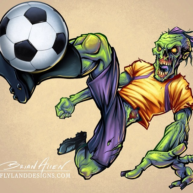 I illustrated this zombie soccer player for Great Dane Graphics. It is one of many zombie mascots I did.