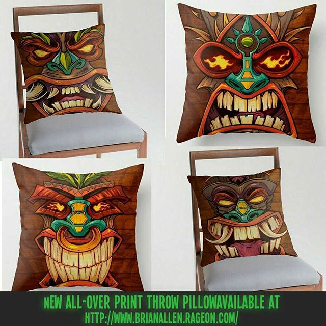 I created a new series of Tiki Head art that I thought would look really cool on a set of throw pillows for the beach house that we will own someday in the far, far future. Check them out! Labor Day Sale going on right now at my RageOn storehttps://www.rageon.com/a/users/TheArtofBrianAllen#tiki #beach #art #pillows #allover #decor