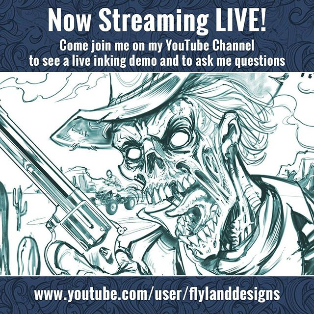 I'm now streaming live on YouTube RIGHT NOW! - please head on over and check out a live inking demo in Manga Studio 5 of a zombie cowboy.  Happy to answer your questions there.https://www.youtube.com/user/flylanddesigns#live #digital inking #zombie New Artwork From Instagram