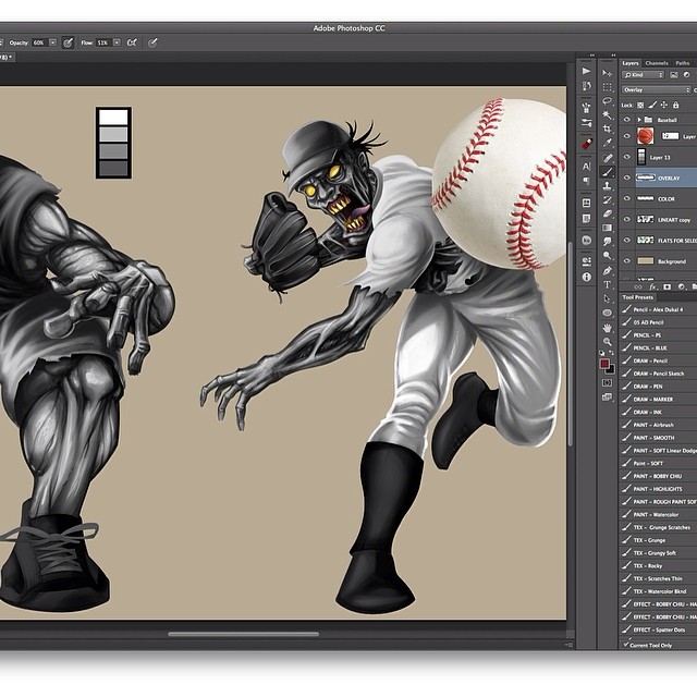 Step two of the zombie baseball player. I am just doing some rendering.