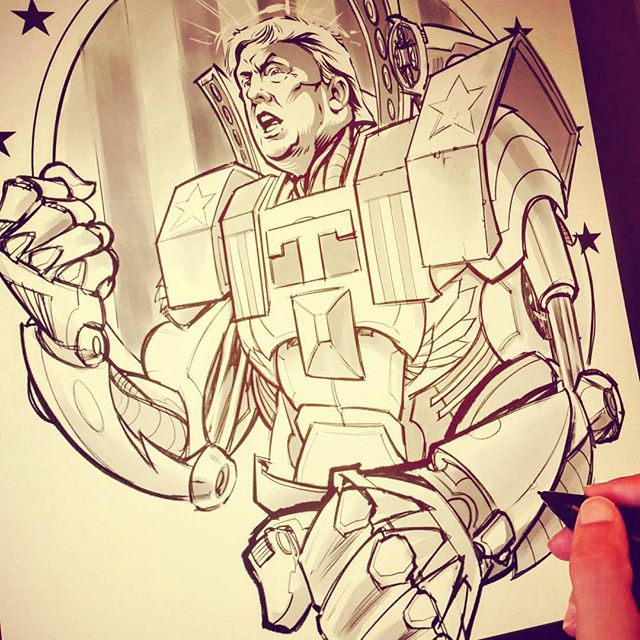Working on something pretty ridiculous today ...#trump #mech #mechamericagreatagain New Artwork From Instagram