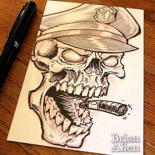 Day 02 of Inktober!! Flexing my innovative creativity muscles and really pushing the boundaries here with this one. I call it Skull with a Cigar. New ink drawing every day this month!#inktober #skull #ink #sketch #brush #blackandwhite #art #instaartist #brianallen New Artwork From Instagram