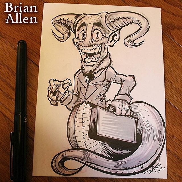 Inktober 10th - salesman demon - kind of disappointed in this one, I was excited about the idea but thought it fell a little flat. Onwards!Illustrated by Brian Allen, FlylandDesigns.com#demon #mangastudio #photoshop #illustration #tshirt #art #instaart #instaartist #picoftheday #igdaily #followme New Artwork From Instagram