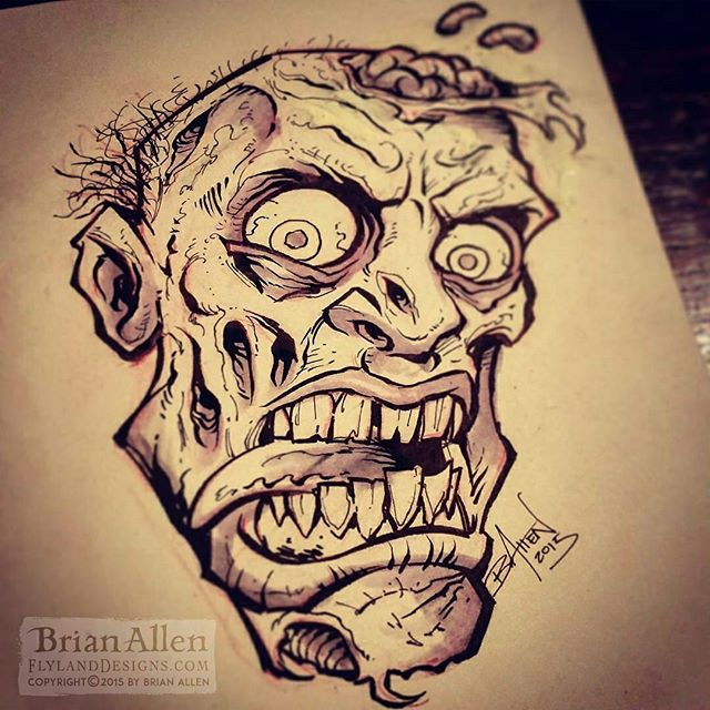 Inktober 14th - Man it's been so much fun seeing what my friends are coming up with this month. I definitely need to set aside more time to step it up. Need to step out of my comfort zone a bit more. Though sometimes you just need to draw a zombie!#zombie #inktober #ink #sketch #brush #blackandwhite #art #instaartist #brianallen New Artwork From Instagram