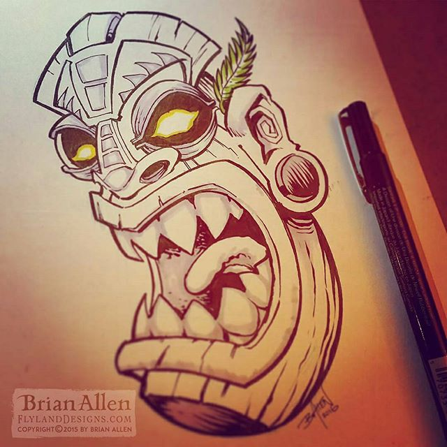 Inktober is half over - or half empty, whatever your thing is. Ran short of time again and had to ink a pencil sketch I have laying around of a tiki head. I'm really going to try to make a serious effort to carve out more time to work on these in the remaining weeks.#tiki #inktober #ink #sketch #brush #blackandwhite #art #instaartist #brianallen New Artwork From Instagram
