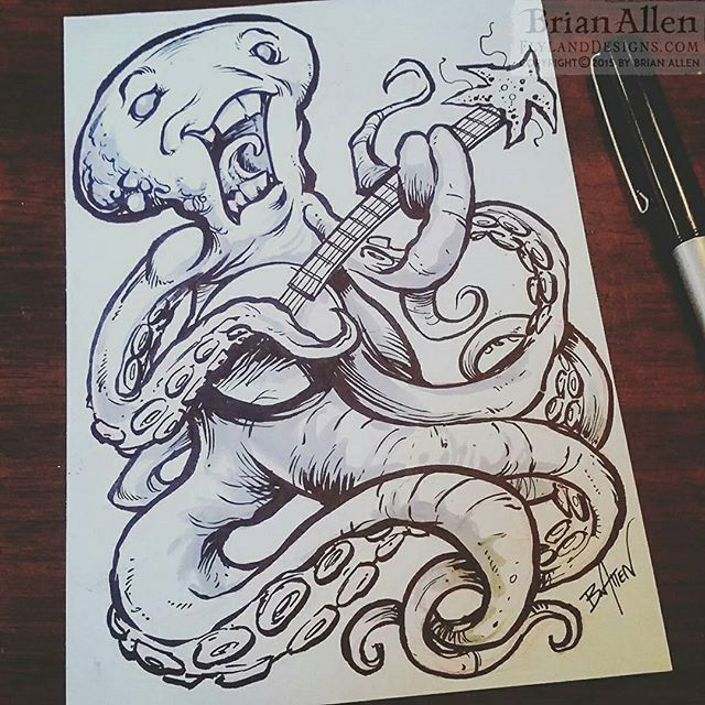 Come see Inky live at Calamari Hall Inktober Day 22 #inktober #ink #octopus #cartoon #funny #sketch #brush #blackandwhite #art #instaartist #brianallen New Artwork From Instagram