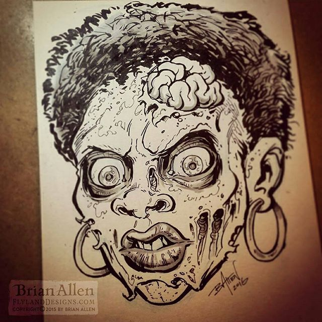 Inktober 12 - Heeey Zombie Gurl! I inked this from a penciled character I had laying around that I always liked - inked with a pentel brush pen.#zombie #inktober #ink #sketch #brush #blackandwhite #art #instaartist #brianallen New Artwork From Instagram