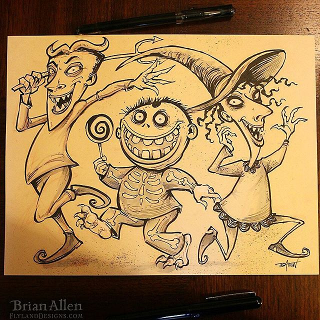 Lock Stock and Barrel, the most infamous trick or treaters ever! Drawn for Inktober#inktober #ink #sketch #brush #halloween #art New Artwork From Instagram