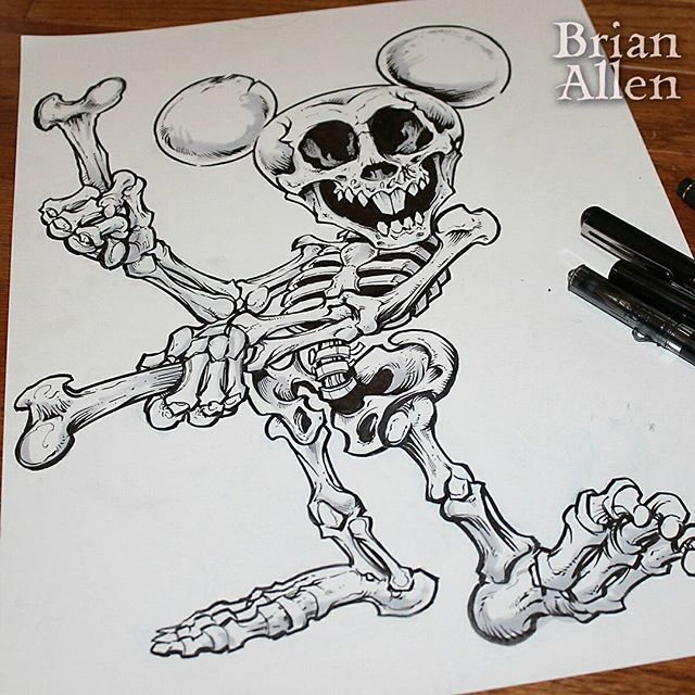 Inktober 11 - Mickey Skeleton is the 3rd character in my series for our Disney World trip shirt. Love this one, but I think Goofy is still my favorite.#mickey #skeleton #inktober #ink #sketch #brush #blackandwhite #art #instaartist #brianallen New Artwork From Instagram