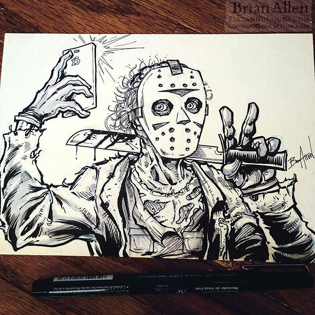 Inktober 28 - Jason is an android guy. Ch ch ch ha ha ha#friday13 #jason #inktober #ink #sketch #brush #blackandwhite #selfie New Artwork From Instagram