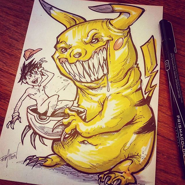 Happy Saturday! Here's an ink sketch for #inktober of a rabid Picachu. I know, pretty dumb. But sometimes art is dumb!#inktober #picachu #pokemon #nakedguyinapokeball New Artwork From Instagram