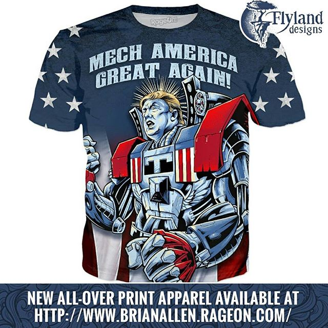 I had some bad words thrown at me because of my Trump Zombie shirt, so I wanted to make something for my fans on the other side of the aisle to show that I love you all regardless. Check out my Mech America Great Again design at https://www.rageon.com/a/users/TheArtofBrianAllen#trump #patriotic #rageon #apparel #alloverprint #dtg New Artwork From Instagram