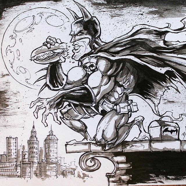 Batman brooding over his batlunch drawn for #inktober - #batman #art #funny New Artwork From Instagram