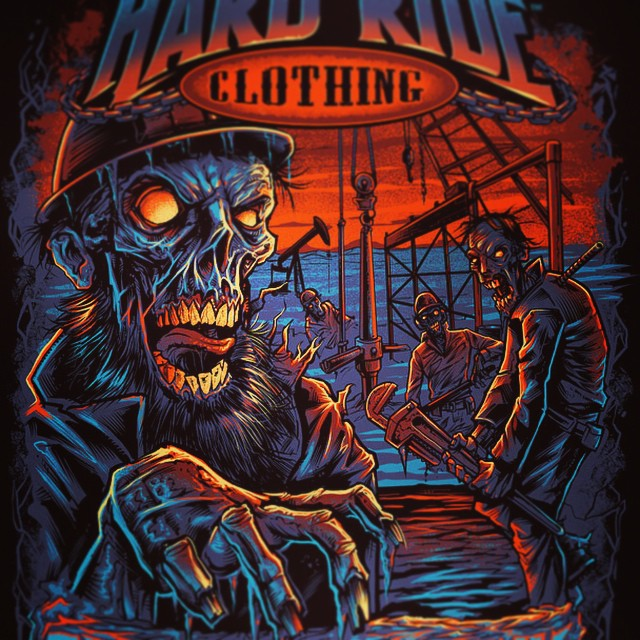 Tshirt I designed for hard ride clothing featuring zombies working on a frozen bakken oil field rig. Really proud of how this turned out.  Www.flylanddesigns.com