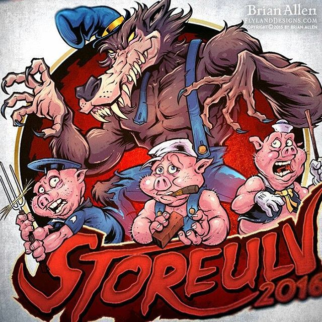 I was hired to design this illustration of the Big Bad Wolf and the three little pigs, or Storeulv, as he's known in Norway. I created the characters to pay homage to the classic three little pigs cartoons, but with a twisted look to them. The design was for apparel and a vehicle wrap for the russefeiring tradition. #art #illustration #russ #logo #bigbadwolf #freelance #FlylandDesigns New Artwork From Instagram
