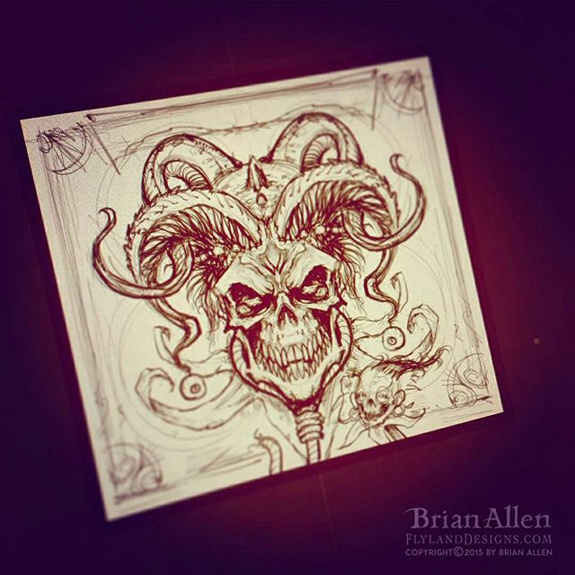 Rough sketch for an album cover design for Hang The Jester... more to come!#art #illustration #album #cover #skull #freelance #FlylandDesigns New Artwork From Instagram