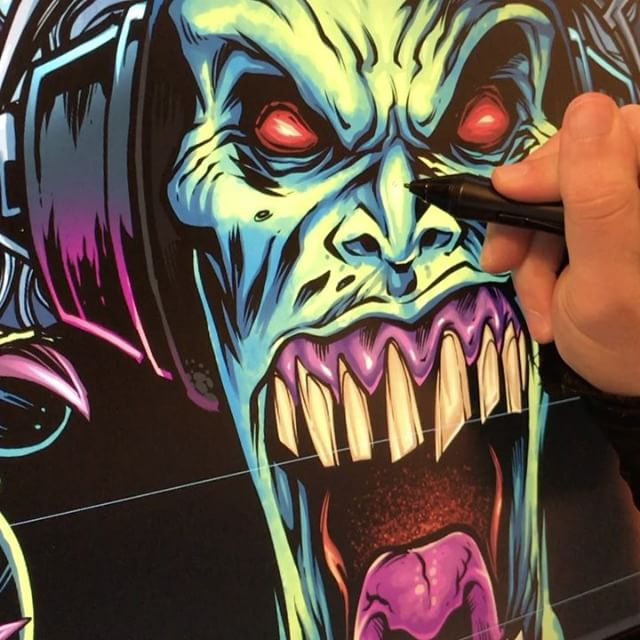 Working on a fun zombie mascot for a logo today. I would love to see a season of the walking dead with the colors zombies are supposed to be: bright green and purple! #art #illustration #tshirt #freelance #zombie #mangastudio #FlylandDesigns New Artwork From Instagram