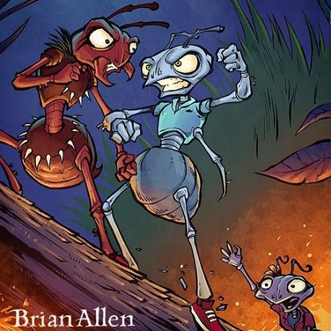 Epic Ant Battle!  Illustrated by me for a children's book.  Fire Ants be haters⠀#art #illustration #childrensbook #ants #freelance #FlylandDesigns New Artwork From Instagram