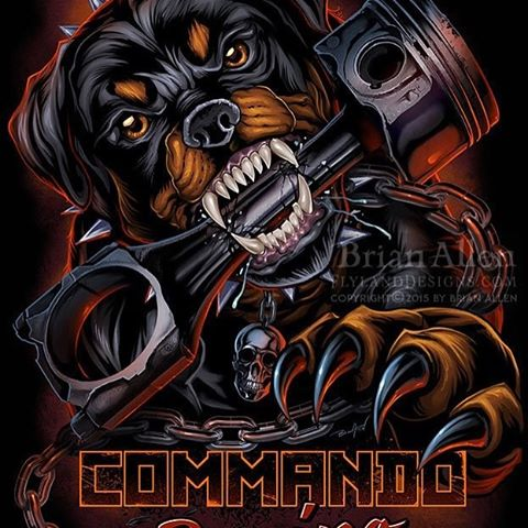 Digitally painted illustration of an angry Rottweiler taking a bite out of a big Piston for the racing brand Commando Racing Gear.  This was a fun challenge to work on, because drawing realistic dogs, especially specific breeds, can be very tricky to get just right.  I'm pretty happy with the result.  This design will be separated to print with simulated process silk-screening and sold at drag racing shows and shops.⠀#art #illustration #tshirt #rottweiler #racing #freelance #FlylandDesigns New Artwork From Instagram
