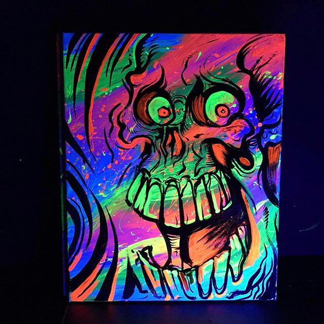 "Hey guys, I'm trying to peddle these original #blacklight #paintings I created on 16"" x 20"" canvas.  This one's a #skull - looks insanely bright under the blacklight.  Asking $149 each.  Please tag anyone you know who might be interested in blacklight #art.  Check them out in my shop http://www.flylanddesigns.com/shop/ New Artwork From Instagram"