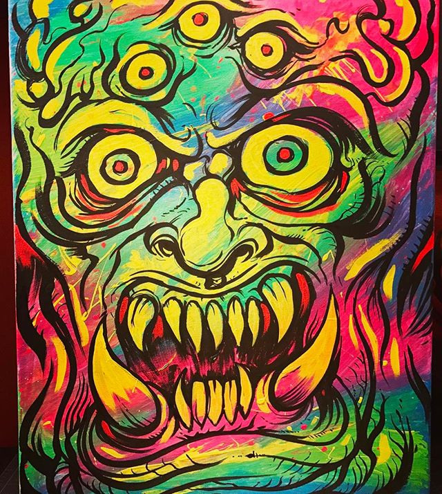 Here's another #blacklight #acrylic #painting I created recently of a #creature with a bunch of eyes.  I almost never work with real life materials, and I had this huge box of blacklight paints left over from a mural job I did, so I thought it would be fun to mess around a bit.  Pretty happy with how these turned out.  I'm selling the originals in my shop if you're interested. New Artwork From Instagram
