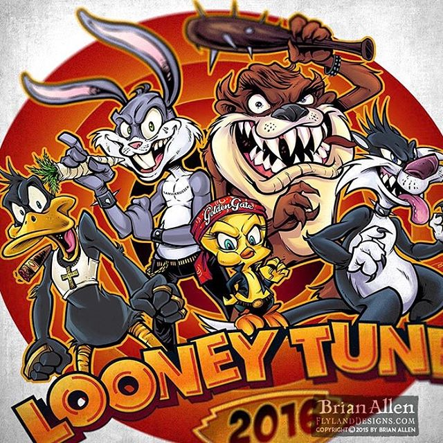 "Looney Tunes parody I did recently with the crew as a group of thugs.  Take a close look at Bugs' ""carrot."" Please don't sue me.⠀#art #illustration #logo #looneytunes #russ #thuglife #freelance #FlylandDesigns New Artwork From Instagram"