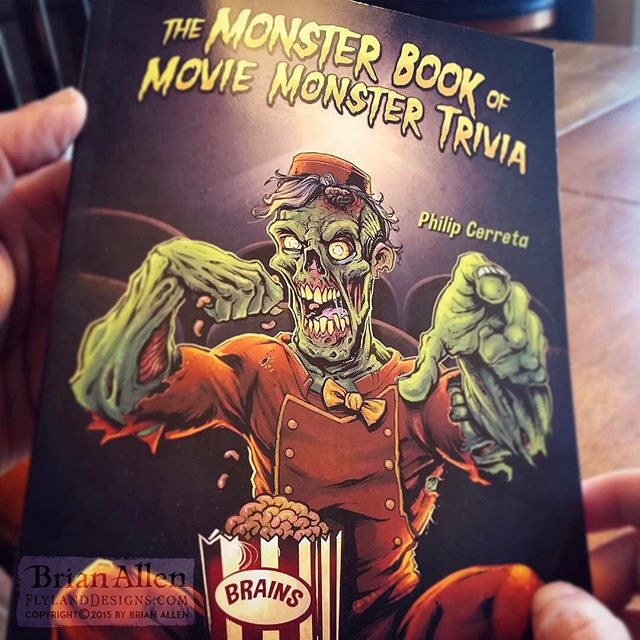 "Book cover illustration of a zombie usher enjoying a fresh box of buttered brains in a movie theater I illustrated for Phillip Cerreta's new movie trivia book, ""The Monster Book of Movie Monster Trivia."" The client came to me with the idea of having a zombie in a theater enjoying a box of brains as if it were popcorn, and I thought it would be funny to dress him up in a tattered usher's uniform.  I love finding new ways to draw zombies!⠀#art #illustration #bookcover #usher #zombie #freelance #FlylandDesigns New Artwork From Instagram"