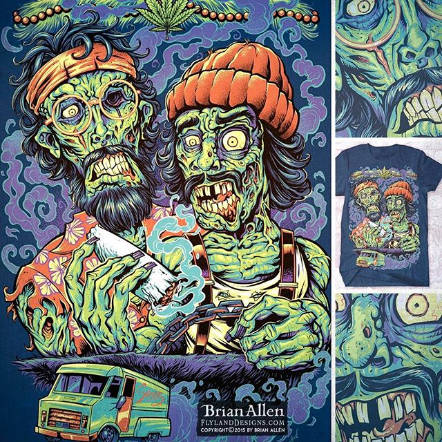 New #CheechandChong #Zombie tribute #t-shirt available at TeePublic.com This is a complete redesign of a piece of #artwork I did many years ago, that proved to be really popular.  I loved the previous design, but there were always a bunch of things about it that bugged me.  So I decided to redraw it from the ground up and make improvements and test my new skills.  I'm so glad I did!⠀Illustrated by Brian Allen, FlylandDesigns.com⠀#weed #marijuana #420 #mangastudio #photoshop #illustration #tshirt #art #instaart #instaartist #picoftheday #igdaily #followme New Artwork From Instagram