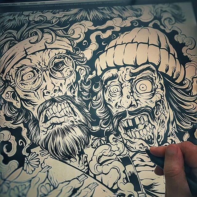 I decided to go back and reinvent one of my most popular pieces, a #zombie #tshirt #tribute to #CheechandChong.  Going to be ready just in time for  a special day this week.  Here's a shot of the inks in progress in Clip Studio Paint #marijuana #weed #pot New Artwork From Instagram