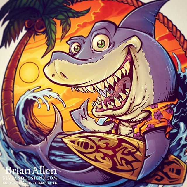 Surfer Shark illustration I created - available for licensing.  The beach has always been a big part of my life, even though I live about 6 hours from the ocean.  The wife and I will be moving there someday.⠀#art #illustration #beach #shark #surf #licensing #tshirt #freelance #FlylandDesigns New Artwork From Instagram