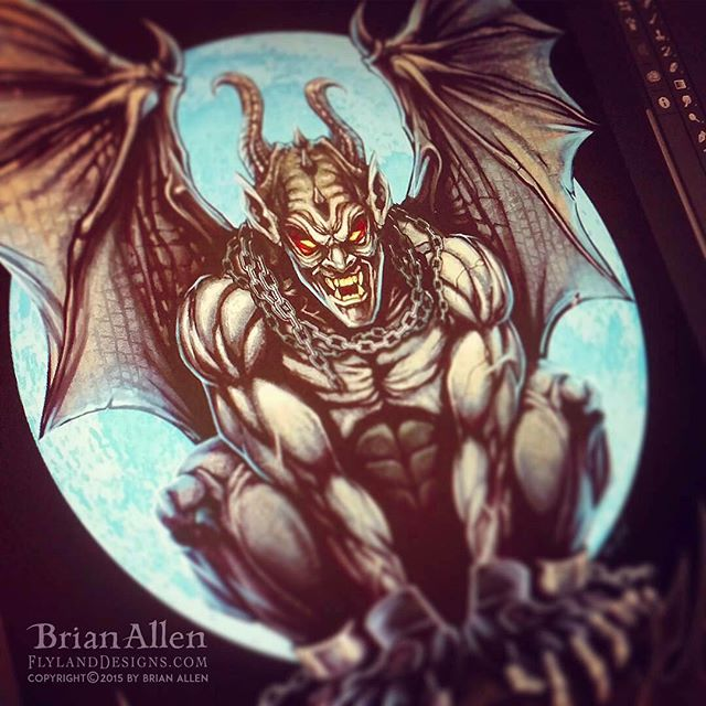 I illustrated this gargoyle t-shirt using Manga Studio 5, wearing MMA fight gloves sitting on a rooftop with a full moon behind.  Created for a fitness brand of apparel to be sold at their gyms and front their website.⠀#art #illustration #gargoyle #tshirt #freelance #FlylandDesigns New Artwork From Instagram