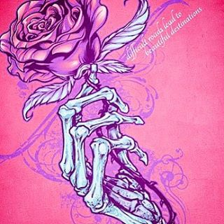 Silk-screen design of a skeleton hand holding a rose I designed for a t-shirt.  This is about as much of my feminine side as you'll ever see!  Created for a fitness brand of apparel to be sold at their gyms and front their website.⠀#art #illustration #skeleton #rose #feminine #tshirt #freelance #FlylandDesigns New Artwork From Instagram