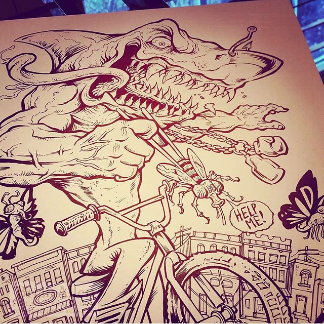 #Drawing a muscular #shark on a #bike with a #Pentel #brushpen on bristol paper because this is MY JOB.⠀Illustrated by Brian Allen, FlylandDesigns.com⠀#mangastudio #photoshop #illustration #tshirt #art #instaart #instaartist #picoftheday #igdaily #followme New Artwork From Instagram