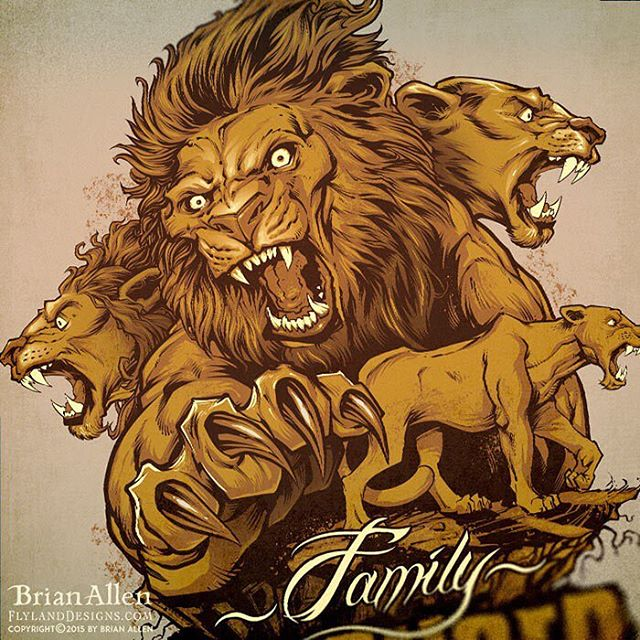 Silk-screen t-shirt illustration I created of a pride of lions for a fitness brand of apparel to be sold at their gyms and front their website.⠀#art #illustration #lion #fitness #tshirt #freelance #FlylandDesigns New Artwork From Instagram