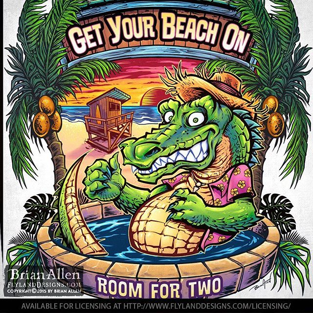 #T-Shirt #template I #illustrated of a cartoon #gator mascot in a tropical #beach setting.  Available for #licensing⠀Illustrated by Brian Allen, FlylandDesigns.com⠀#mangastudio #photoshop #illustration #tshirt #art #instaart #instaartist #picoftheday #igdaily #followme New Artwork From Instagram