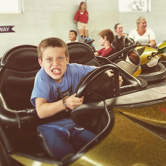 Michael's finally tall enough to ride the bumper cars at Funland and he's a lunatic New Artwork From Instagram
