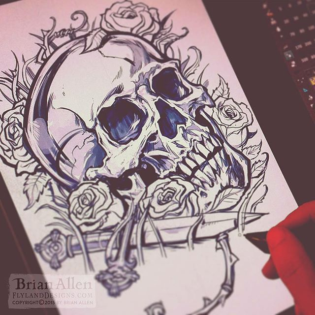 Drawing a #skull on my best and only friend #Wacom⠀Illustrated by Brian Allen, FlylandDesigns.com⠀#mangastudio #photoshop #illustration #tshirt #art #instaart #instaartist #picoftheday #igdaily #followme New Artwork From Instagram