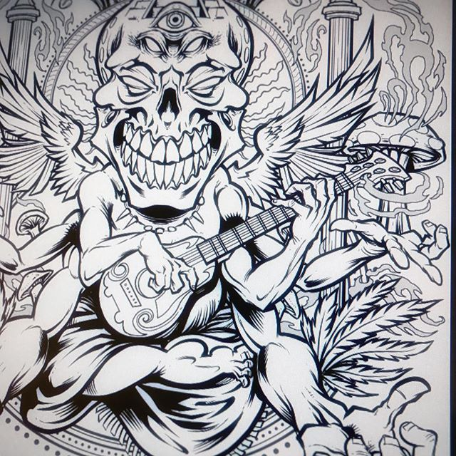 I'm going to be coloring this illustration LIVE on my YouTube and Twitch channels in about 20 minutes today. #art #mangastudio #psychedlic New Artwork From Instagram