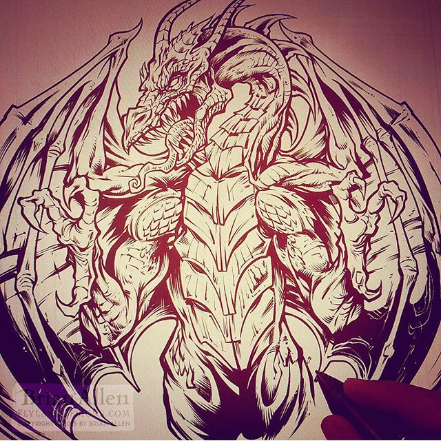 Inking a dragon today - what are you working on?⠀#art #illustration #freelance #FlylandDesigns #dragon New Artwork From Instagram