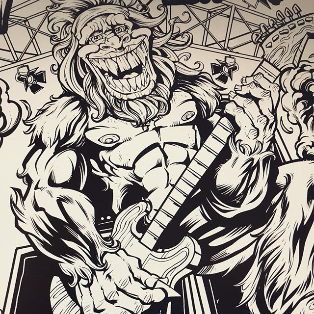#Digital #Inking something really fun for a #gigposter for #Squatchfest in #Kane PA this weekend.  Featuring the legendary guitar soloist, #BigFoot.  Inked in #MangaStudio5⠀Illustrated by Brian Allen, FlylandDesigns.com⠀#tshirt #mangastudio #photoshop #illustration #art #instaart #instaartist New Artwork From Instagram