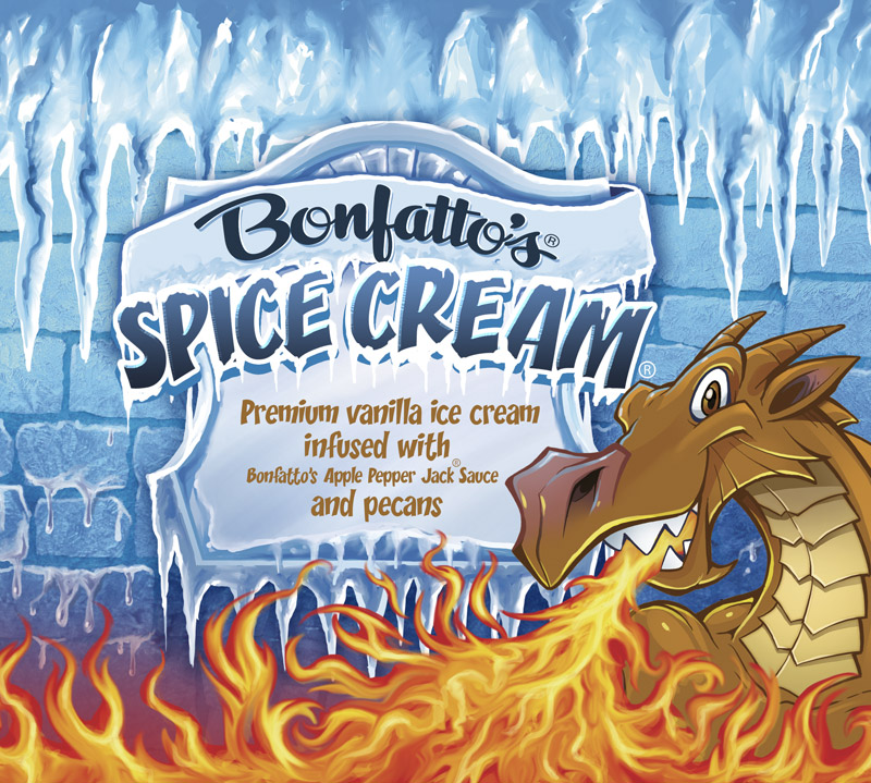 Packaging design illustration of dragons for an ice cream brand