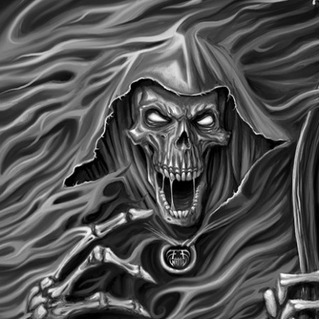 Digital painting of grim reaper emerging from smoke