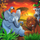 Acrylic mural painting I created of a colorful jungle with an elephant, lion, giraffe, monkey, and snake with a sunset background.