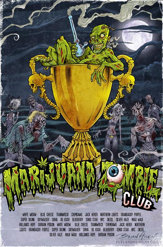 Marijuana Zombie Flyland Designs Freelance Illustration