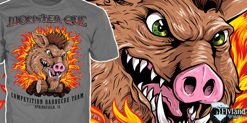 T-Shirt illustration of a warthog emerging from fire