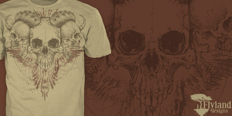 T-Shirt illustration of skulls and a hawk