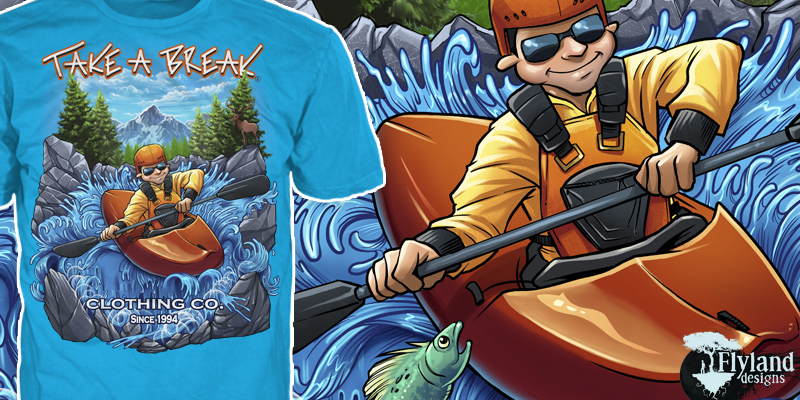 T-Shirt illustrations of a young man in a kayak